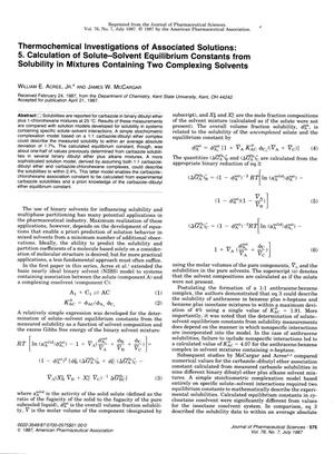 Primary view of object titled 'Thermochemical Investigations of Associated Solutions: 5. Calculation of Solute-Solvent Equilibrium Constants from Solubility in Mixtures Containing Two Complexing Solvents'.