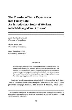 The Transfer of Work Experiences into Family Life: An Introductory Study of Workers in Self-Managed Work Teams