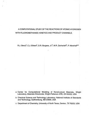 Primary view of object titled 'A Computational Study of the Reactions of Atomic Hydrogen with Fluoromethanes: Kinetics and Product Channels'.