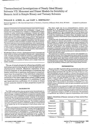 Primary view of object titled 'Thermochemical Investigations of Nearly Ideal Binary Solvents 7: Monomer and Dimer Models for Solubility of Benzoic Acid in Simple Binary and Ternary Solvents'.