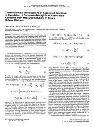 Primary view of object titled 'Thermochemical Investigations of Associated Solutions: 4. Calculation of Carbazole-Dibutyl Ether Association Constants from Measured Solubility in Binary Solvent Mixtures'.