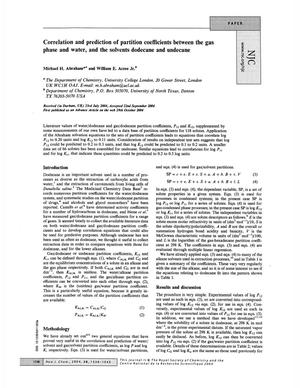 Primary view of object titled 'Correlation and prediction of partition coefficients between the gas phase and water, and the solvents dodecane and undecane'.
