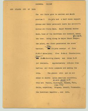 Primary view of object titled '[News Script: Goodwill flight]'.