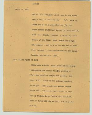 Primary view of object titled '[News Script: Midget]'.