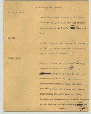 Primary view of object titled '[News Script: Anti aircraft unit arrives]'.