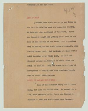 Primary view of object titled '[News Script: Fishermen jam two new lakes]'.