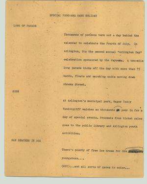 Primary view of object titled '[News Script: Special programs mark holiday]'.