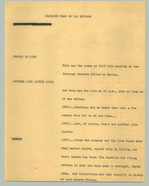 Primary view of object titled '[News Script: Deadline near on tax returns]'.