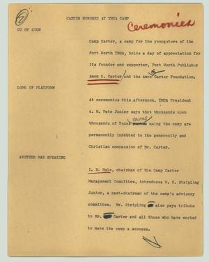 Primary view of object titled '[News Script: Carter honored at YMCA camp]'.