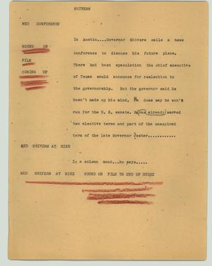 Primary view of object titled '[News Script: Shivers]'.