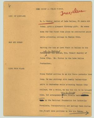 Primary view of object titled '[News Script: News brief -- polio victim]'.