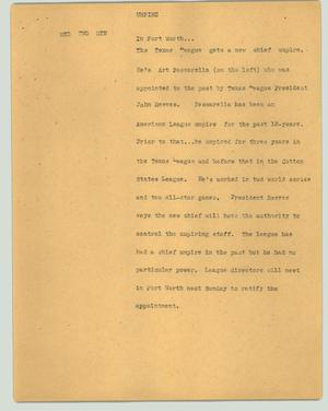 Primary view of object titled '[News Script: Umpire]'.