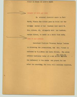 Primary view of object titled '[News Script: Woman on trial in mate's death]'.