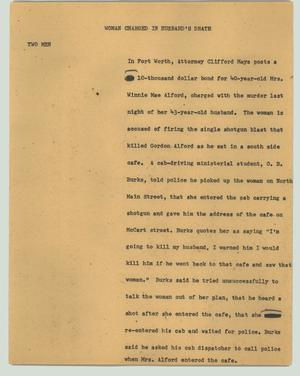 Primary view of object titled '[News Script: Woman charged in husband's death]'.