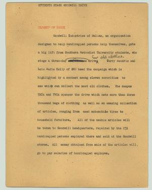 Primary view of object titled '[News Script: Students stage goodwill drive]'.