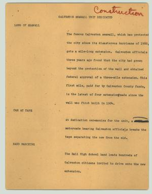 Primary view of object titled '[News Script: Galveston seawall unit dedicated]'.