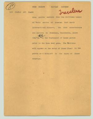 Primary view of object titled '[News Script: News briefs Haitian dancers]'.