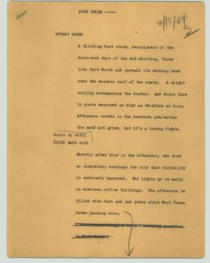 Primary view of object titled '[News Script: Dust storm]'.