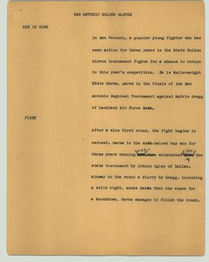 Primary view of object titled '[News Script: San Antonio golden gloves]'.