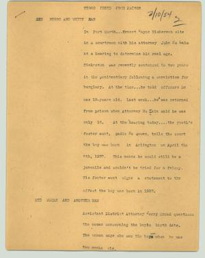 Primary view of object titled '[News Script: Negro freed from prison]'.