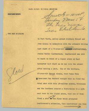 Primary view of object titled '[News Script: Pair jailed in fatal shooting]'.