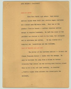 Primary view of object titled '[News Script: News briefs 1 (accident)]'.