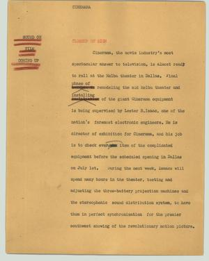 Primary view of object titled '[News Script: Cinerama]'.