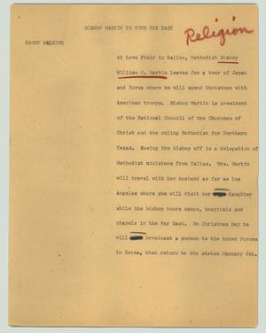 Primary view of object titled '[News Script: Bishop Martin to tour far east]'.
