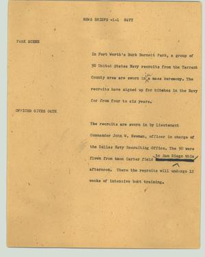 Primary view of object titled '[News Script: News Briefs - Navy]'.