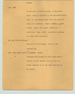 Primary view of object titled '[News Script: Dagmar]'.