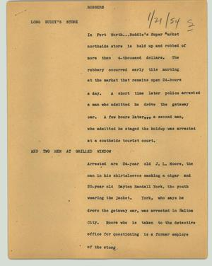Primary view of object titled '[News Script: Robbers]'.