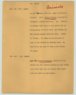 Primary view of object titled '[News Script: Zoo Dallas]'.