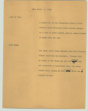 Primary view of object titled '[News Script: News Briefs - Fire]'.