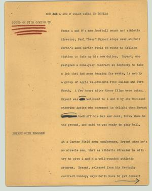 Primary view of object titled '[News Script: New A&M coach takes up duties]'.
