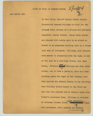 Primary view of object titled '[News Script: Youth on trial in robbery murder]'.