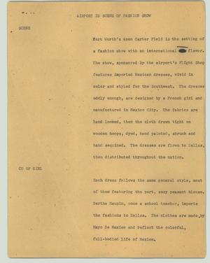 Primary view of object titled '[News Script: Airport is scene of fashion show]'.