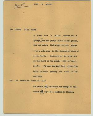 Primary view of object titled '[News Script: Fire in Dallas]'.