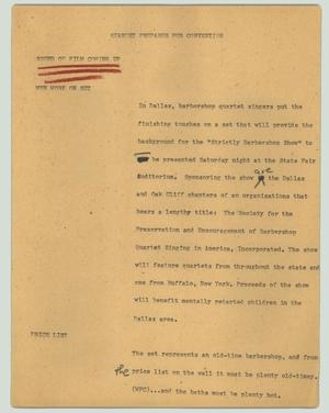 Primary view of object titled '[News Script: Quartet prepares for convention]'.