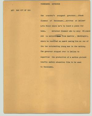 Primary view of object titled '[News Script: Tennessee Governor]'.