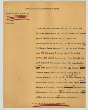Primary view of object titled '[News Script: Association plans segregation fight]'.