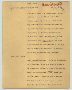 Primary view of object titled '[News Script: Santa death]'.