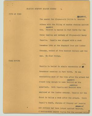 Primary view of object titled '[News Script: Slaying suspect search widens]'.