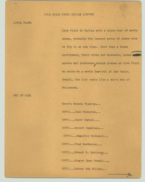 Primary view of object titled '[News Script: Film stars crowd Dallas airport]'.