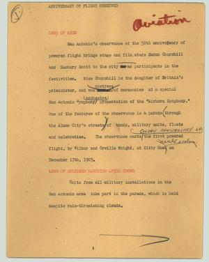 Primary view of object titled '[News Script: Anniversary of flight observed]'.