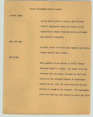 Primary view of object titled '[News Script: Dallas policemen receive awards]'.
