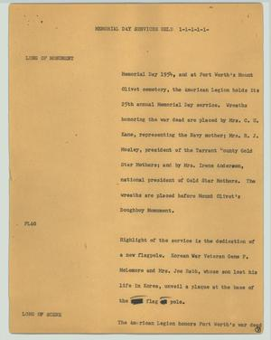 Primary view of object titled '[News Script: Memorial Day services held]'.