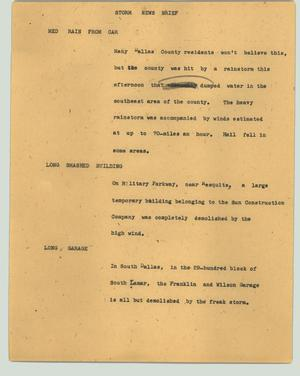 Primary view of object titled '[News Script: Storm news brief]'.