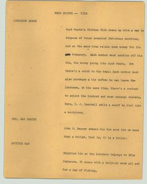 Primary view of object titled '[News Script: News Briefs -- Ties]'.