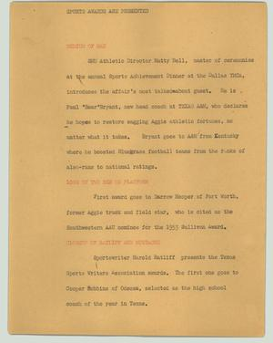 Primary view of object titled '[News Script: Sports awards are presented]'.