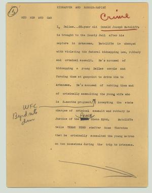 Primary view of object titled '[News Script: Kidnapper and robber-rapist]'.